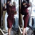 Moda sexy 2 unidades set mujeres trajes de punto otoño knit skirt establece paquete de la cadera de dos piezas crop top y falda set