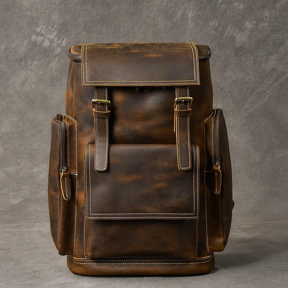 Воловья кожа мужской рюкзак из натуральной кожи большой емкости чехол для ноутбука для путешествий повседневная школьная книга сумки Мног... - 3