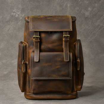 Retro Genuine Leather Men\'s Backpack Large Capacity laptop bag school backpack male shoulder bags Brown leather Travel Backpacks