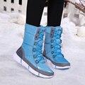 Winter Neue Wasserdichte Schnee Stiefel Frauen Mode Luxus Marke Nylon Frauen Oberschenkel Hohe Stiefel Schwarz Spitze Up Warm Lange Frau schuhe-in Wadenhohe Stiefel aus Schuhe bei