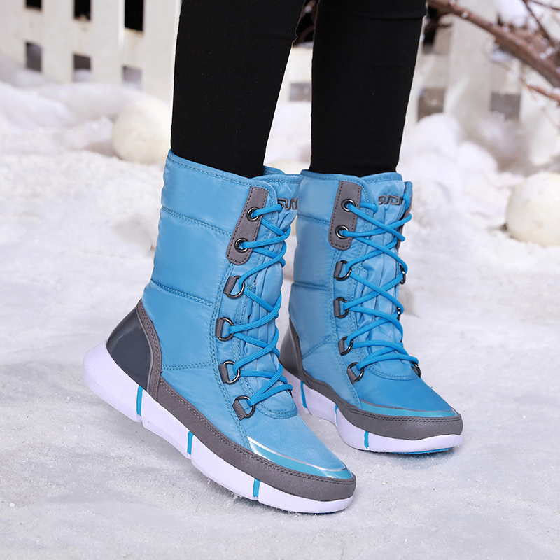 Winter New Waterproof Snow Boots Women Fashion Luxury Brand Nylon Womens Thigh High Boots Black Lace Up Warm Long Woman Shoes-in Mid-Calf Boots from Shoes    1