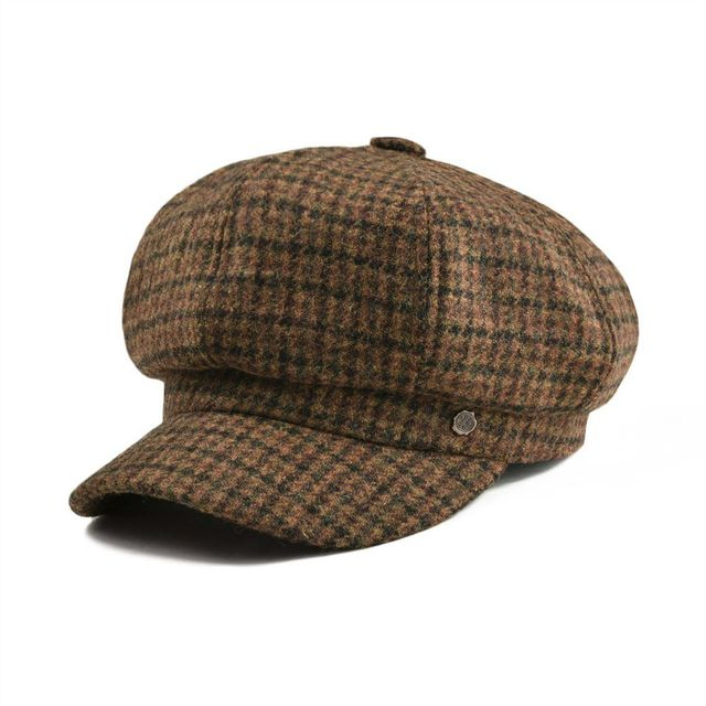 fa0aae89 VOBOOM Ladies Irish Wool Women's Tweed Newsboy Cap Plaid Yellow Brown Beret  Caps Girl Eight Panel Boina Hat with Lined 314