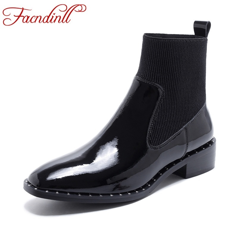FACNDINLL woman winter shoes snow boots patent leather shoes high heels platform black rivets shoes ladies studded ankle boots