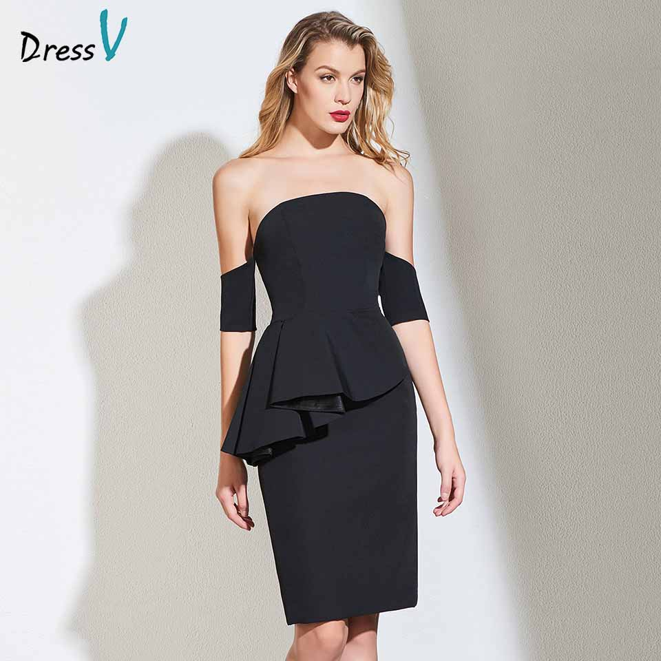 Dressv black   cocktail     dress   elegant off the shoulder sheath ruffles zipper up wedding party formal   dress     cocktail     dresses