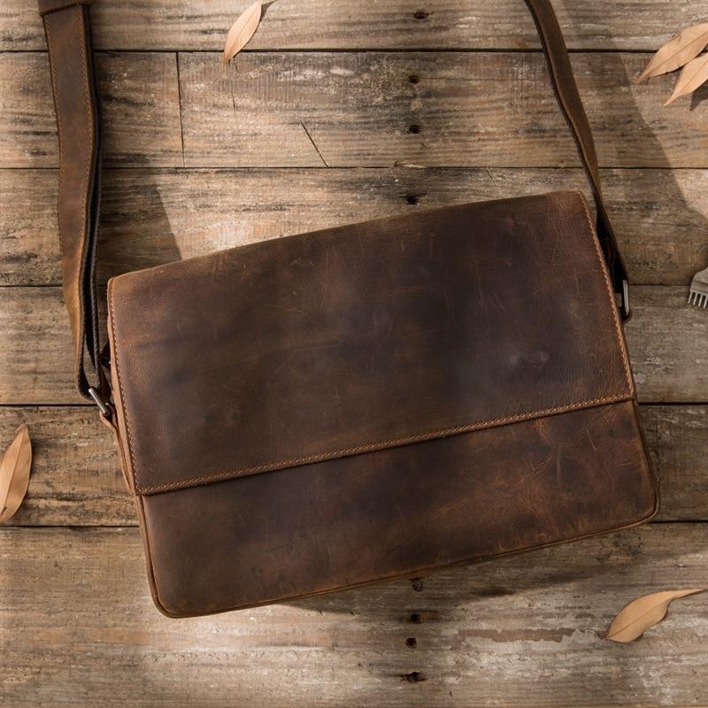 Men's Crazy Horse Genuine Leather Zipper Flap Pad Crossbody  Vintage Cow Skin shoulder Messenger Attache Portfolio Lawyer Bag