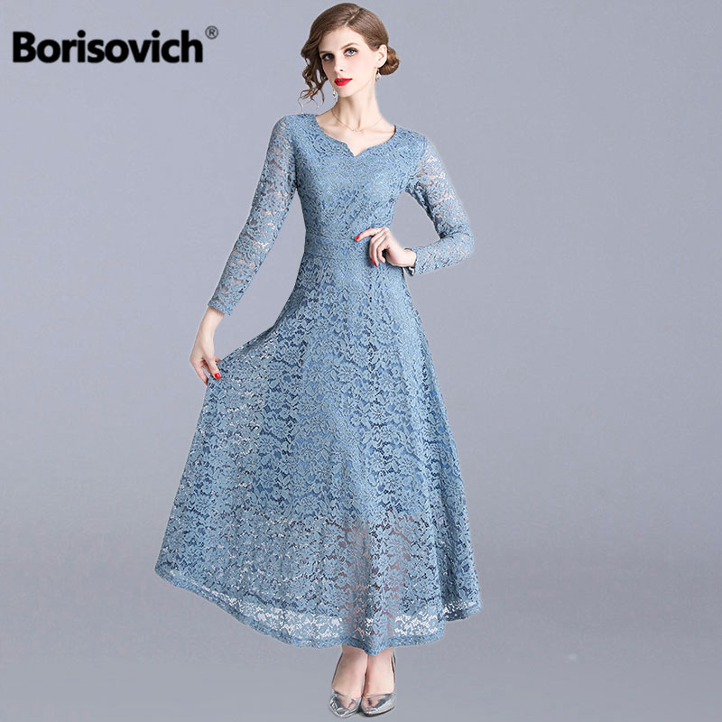 Borisovich Women Casual Lace Long Dress New Brand 2019 Spring Fashion Vintage Big Swing A line