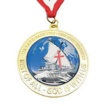 Imprimir medallas con cintas barato personalizado color oro medalla de metal de alta calidad imprimir LOGO