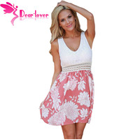 Dear Lover Sexy Mini Ladies Lace Tank Pink Floral Print Sleeveless Skater Dress A Line Summer