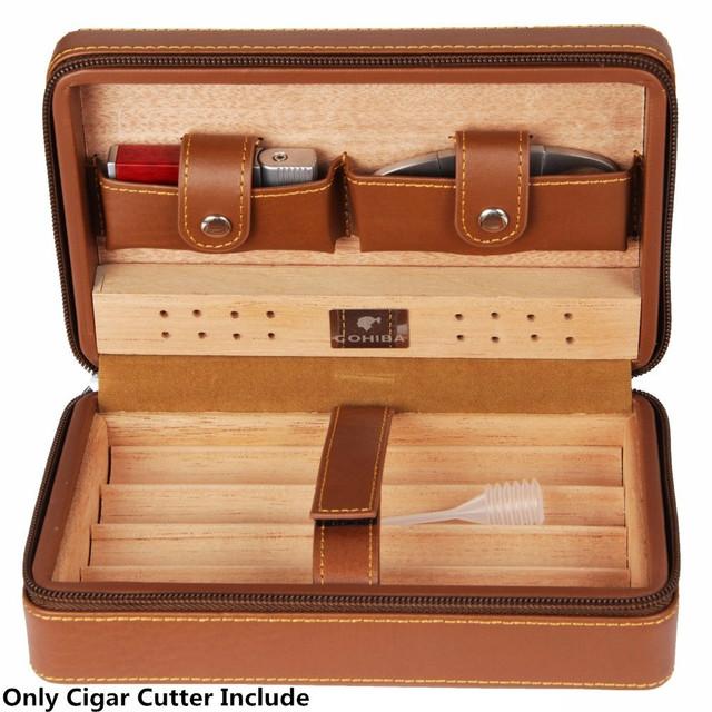 1set  Cigar Cedarwood Storage Box with Cigar Cutter Genuine Leather