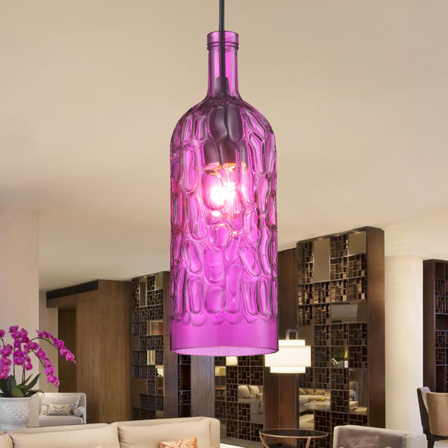 modern stainde glass pendant light fixtures color wine Shade lamp bar restaurant living room decoration colored glass lighting-in Pendant Lights from ...