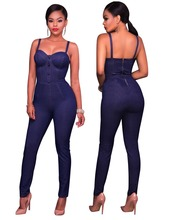 Summer Blue Womens Denim Overalls Skinny Jumpsuit Solid Office Casual Sleeveless Back Zipper Long Pencil Pants Jumpsuits