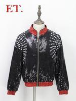 Новый ночной клуб певец одежда DS бар DJ Черный Блестки этап пальто для выступления куртка Для мужчин модный костюм S 4XL