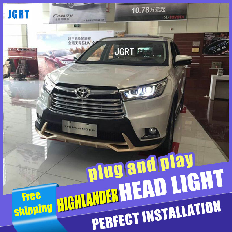 Car Styling For Toyota Highlander headlight assembly 2014-2015 Highlander led headlight turn signal drl H7 with hid kit 2pcs. hireno headlamp for 2016 hyundai elantra headlight assembly led drl angel lens double beam hid xenon 2pcs
