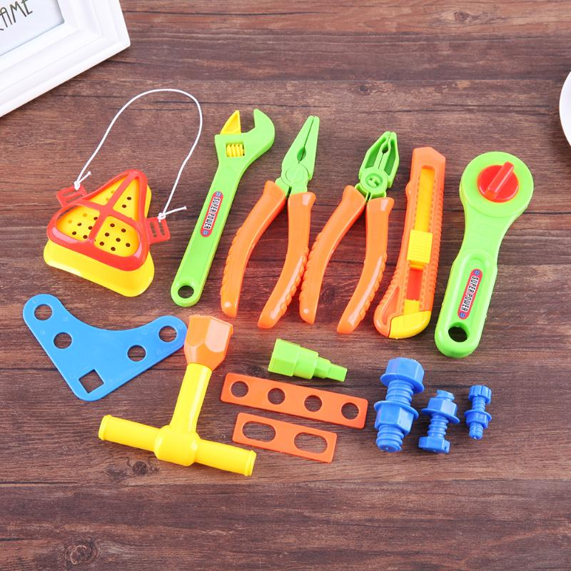 18Pcs/Set Simulate Repair Tools Set Kids Pretend Play Toy Plastic Wrench Pliers Screws Screwdriver Baby Playing House Toy Kits