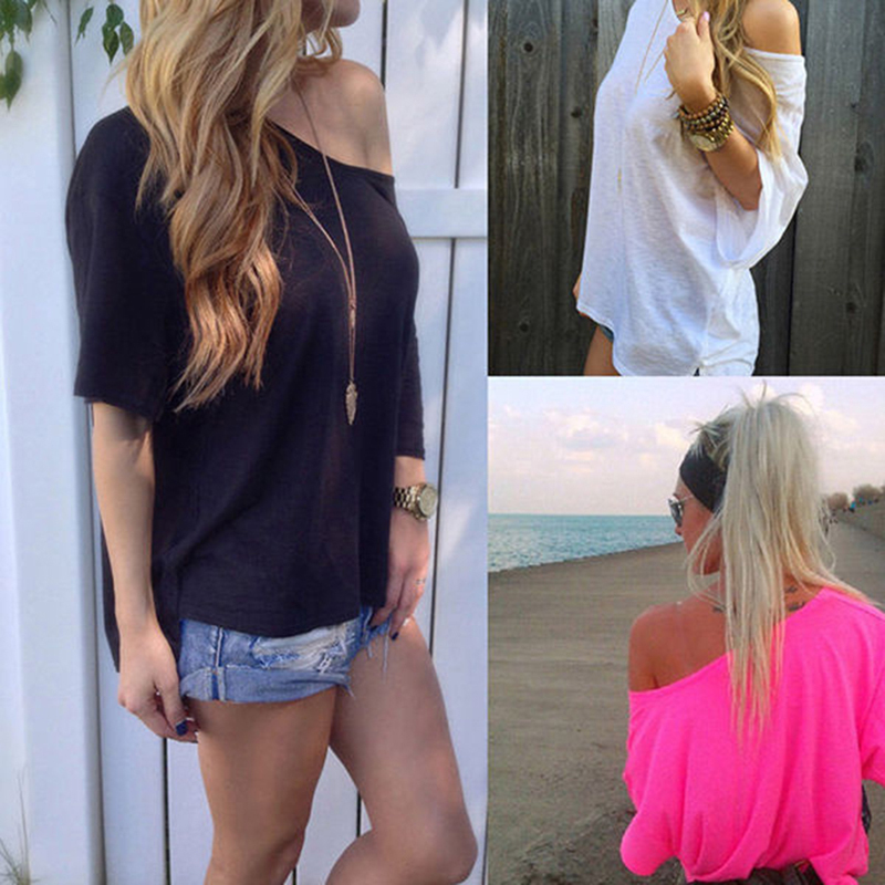Femme Sexy Strapless T-shirt Summer One Shoulder Tops For Women Half Sleeve T Shirt Casual Loose Shirts Plus Size