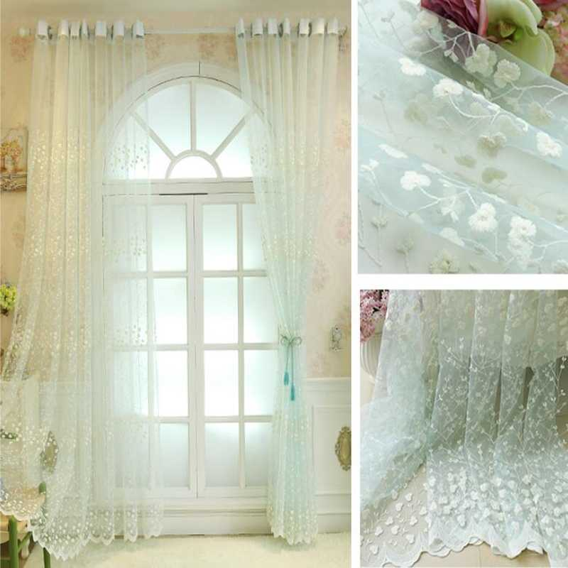 Кружевная занавеска с вышитыми цветами для гостиной, спальни, отвесная занавеска для кухни, занавеска для обработки окон, розовый, бежевый тюль, P208D30