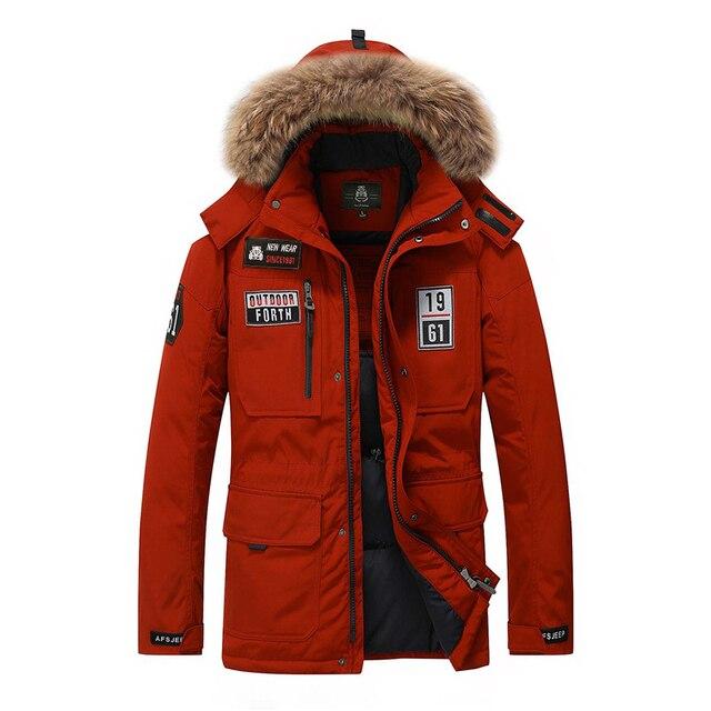 Подпушка пальто Для мужчин брендовая одежда белая утка Подпушка куртка Для мужчин модные меховой воротник плотные теплые зимние куртки Для мужчин S пальто