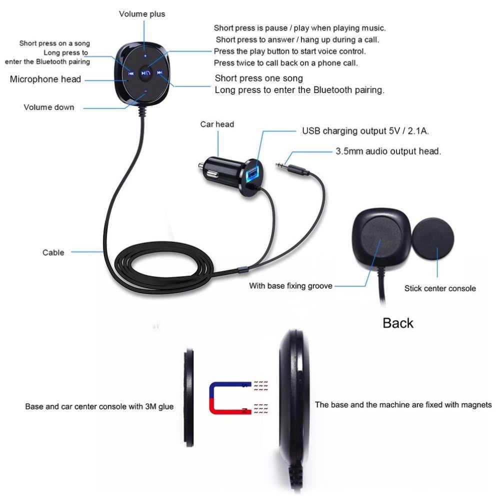 Модный беспроводной Bluetooth автомобильный комплект 3,5 мм AUX музыкальный приемник для гарнитуры bluetooth комплект с USB Автомобильное зарядное устройство для Android для ios