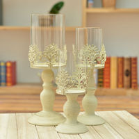 Vintange Pillar Candle Holders Ivory Europe Style Carved Big Tealight Stands With Glass Table Decoration For