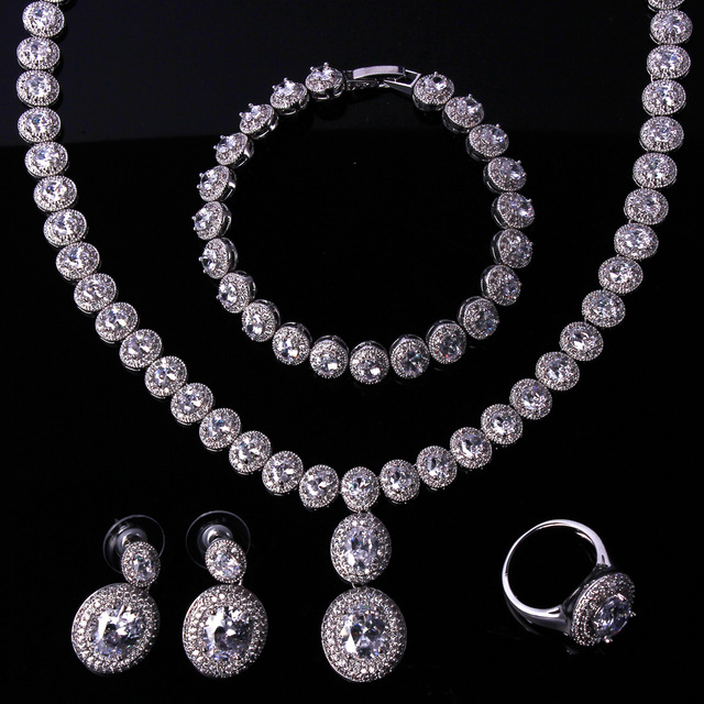 Bridal Jewelry Sets White Gold Filled Necklace Set 4pcs Of Earrings Bracelet And