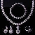 Conjuntos de jóias de noiva de ouro branco preenchido conjunto de colar 4 pcs jóias conjunto de colar pulseira brincos e anel conjunto de colar