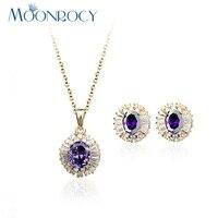 MOONROCY Darmowa Wysyłka biżuteria Cyrkonia rose Złoty Kolor fioletowy Kryształ Naszyjnik Kolczyki Zestaw Biżuterii dla Kobiet