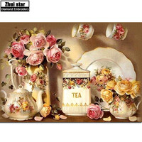 Kitchen Flower Diamond Embroidery 3d Diy Diamond Painting Kits For Square Full Drill Rhinestone Embroidered Mosaic