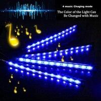 led music 4pcs Car RGB LED Strip Interior Light Multicolor Music Atmosphere Sound Active Function LED Light Strip LED Lighting with Remote (2)