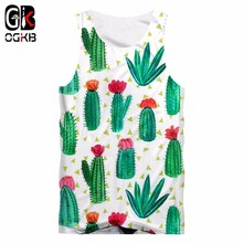 OGKB Sexy Fitness Top 2018 Summer Tank Top Cool Print Green Cacti 3D Tanktop For Women/men Hiphop O-neck Sleeveless Shirts Vest personality 3d round neck gorilla print tank top for men