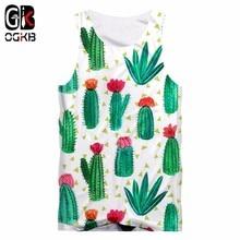 купить OGKB Sexy Fitness Top 2018 Summer Tank Top Cool Print Green Cacti 3D Tanktop For Women/men Hiphop O-neck Sleeveless Shirts Vest дешево