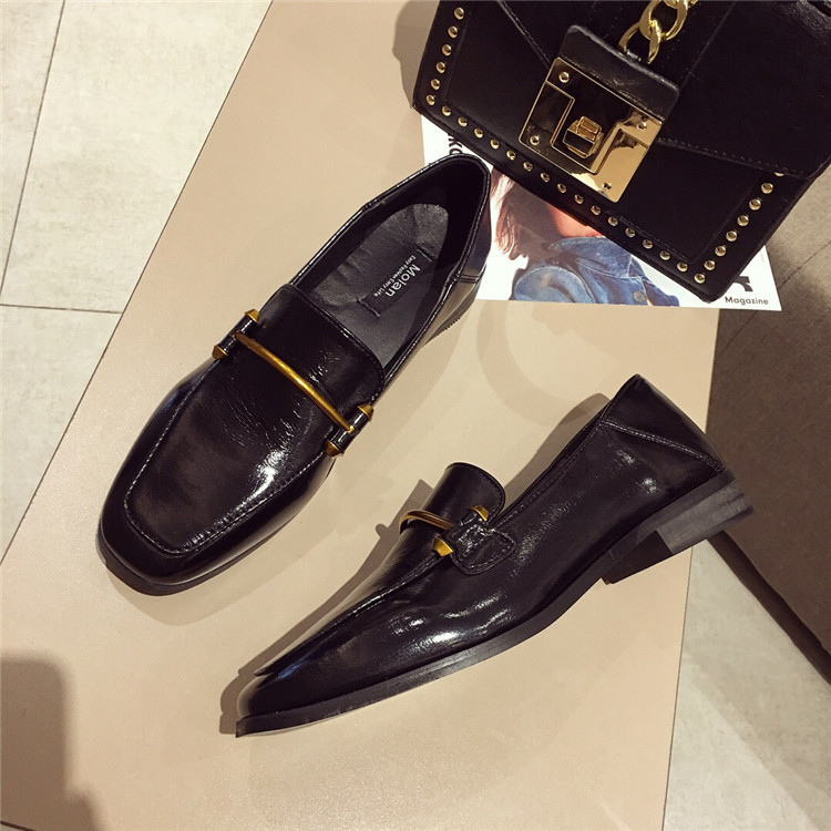 Fashion shoes for women 2018 new soft bottom British shoes woman square head single shoes female thick with flat shoes loafers 81