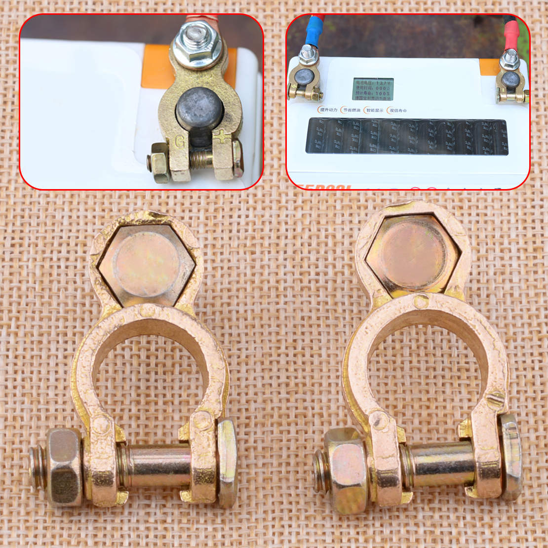 CITALL High Quality 2pcs Positive &#038; Negative Car <font><b>Battery</b></font> Terminal Copper Pile Head Clamp <font><b>Clips</b></font> Brass Connector