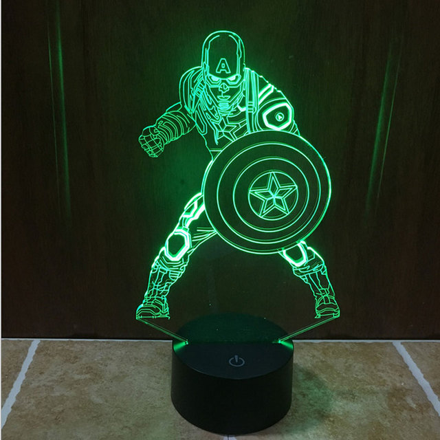 Attractive Marvel Civil War Captain America 3D Light LED Handmade Superhero 3D Bulbing  Illusion Lamp LED Mood