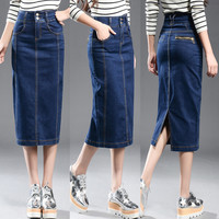 New 2017 Denim Skirt Women Plus Size Casual High Waist Denim Skirts Pencil Patchwork Stretch Slim