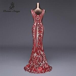 Image 2 - Şiirleri şarkıları örgün parti elbise uzun akşam elbise vestido de festa lüks kırmızı pullu robe longue balo abiye