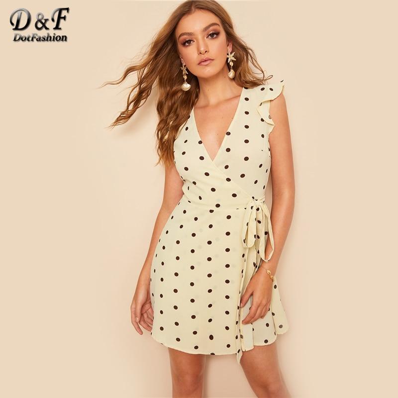 b27cde8bcc Dotfashion Ruffle Armhole Polka Dot Belted Wrap Dress Women Clothes 2019  Summer Boho V Neck Butterfly