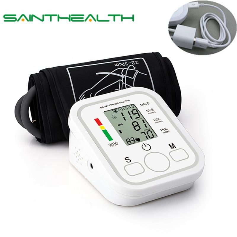 Home Health Care 1 pcs Digital Lcd Arm Blood Pressure Monitor Cardíaco Bata Medidor Máquina Superior Tonômetro para Medição Automática