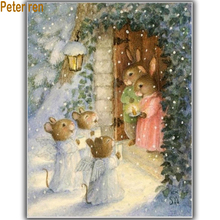 Diy Cross stitch Diamond painting 3d square drill pattern pasted embroidery The rabbit family crafts Needlework
