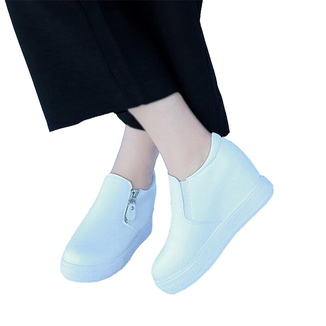 Free shipping 2017 Shoes autumn loafers fashionable joker sponge increased thick bottom single shoes casual shoes white shoe
