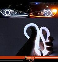 2x 60cm DRL Flexible LED Tube Tear Strip Style Car Headlight Light Amber White For Mazda