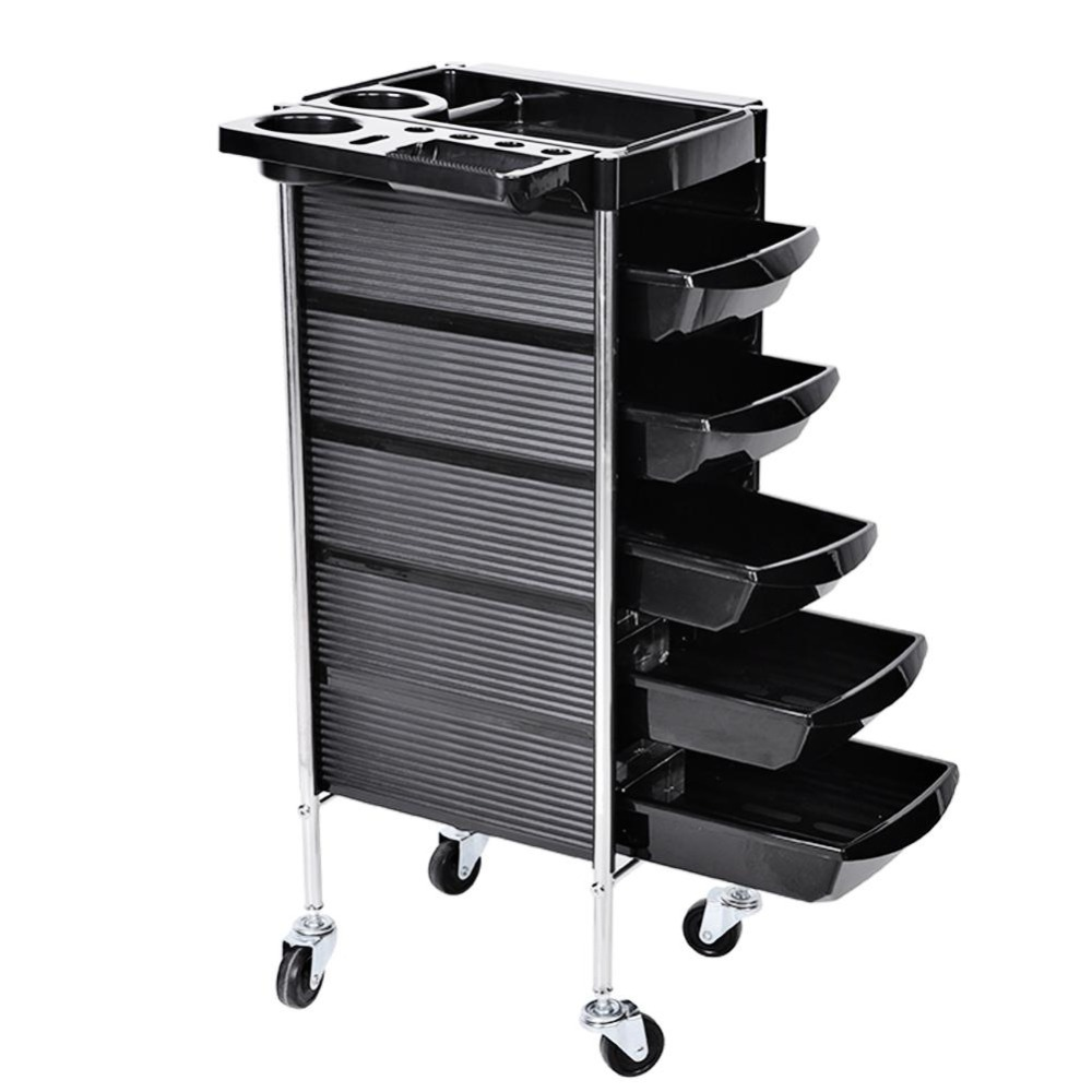 Hair Salon Instrument Storage Cart Adjustable Height Trolley Beauty Tools with 5 Drawers Styling Accessory цена