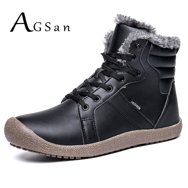 AGSan Waterproof Men Winter Boots Warm Plush Fur Snow Boots High Top Big Size 39-48 Anti Skid Winter Shoes for Men Lace Up Boots high quality men boots 2017 new arrivals waterproof thick plush warm men winter shoes lace up ankle boots size 39 46