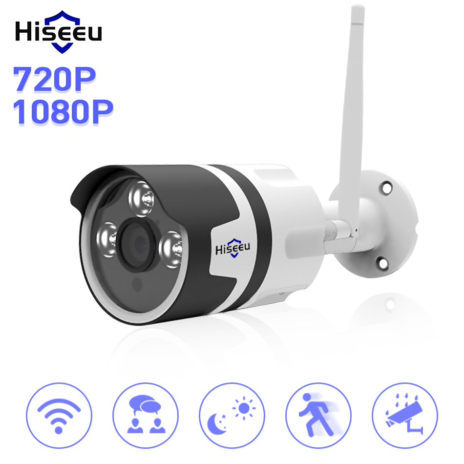 Hiseeu HD 720P 1080P IP Camera Wireless Wifi Bullet Camara Outdoor Waterproof Night Vision IR Cut Onvif P2P Home Security Camara waterproof ip65 ir cut night vision mini hd 720p ip camera wireless wifi bullet onvif p2p home security camara with card slot