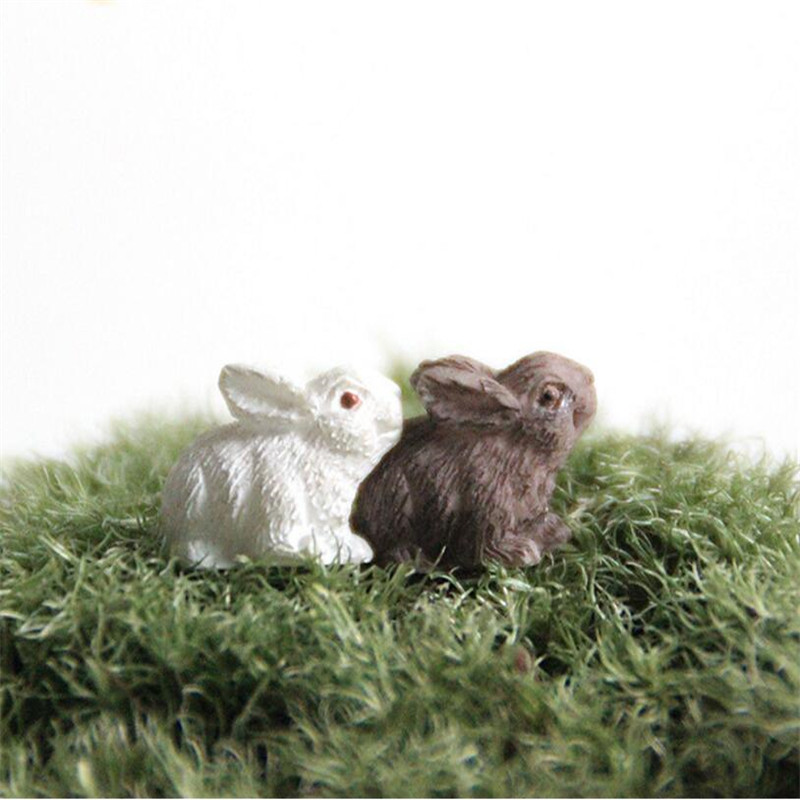 2PCS Resin Rabbit Micro Landscape Ornament Fairy Tale Garden DIY Miniature Decoration Decoration Animal Toy Glass Container Gift