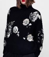 WISHBOP Black Knit Sweater With Silver Sequined Flowers Embellished Drop Shoulder Long Sleeved Ribbed Hem Limited Stock 2018