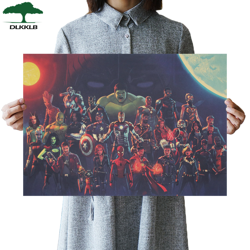 DLKKLB Marvel Vintage Poster Classic Avengers B Style Kraft Paper 51.5x36cm Retro Dormitory Home Decor Painting Wall Stickers