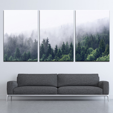 Canvas Painting landscape mountains trees foggy 3 Pieces Wall Art Modular Wallpapers Poster Print Home Decor
