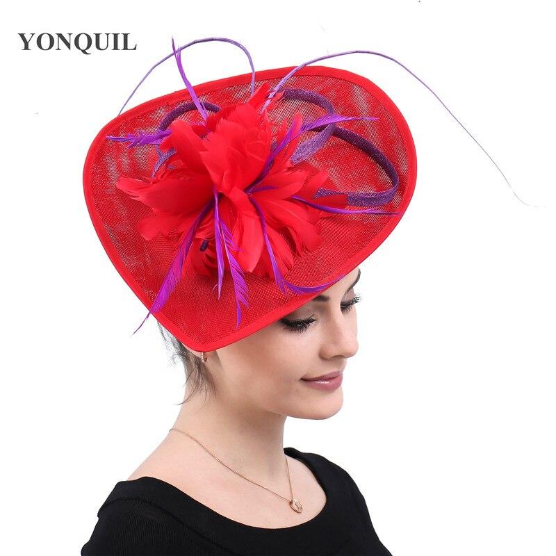 Kenducky Derby Cocktail Feathers Fascinators Hats Wedding Chapeau Caps Red Headwear Women Ladies Female Elegant Hair Accessories