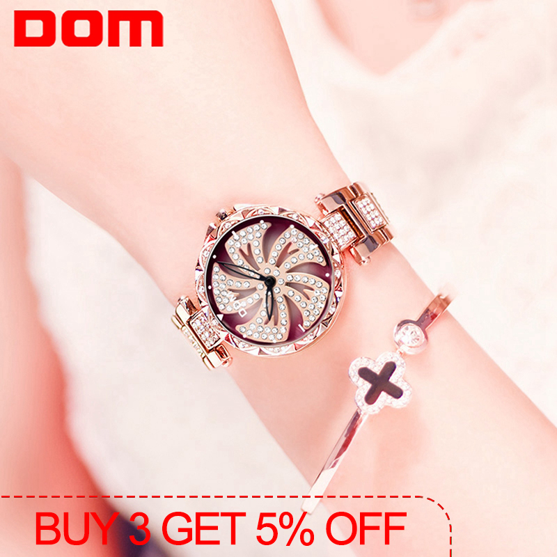 DOM Women Quartz Watches Stylish Fashion Diamond Female Wristwatch Luxury Brand Waterproof Watch Women Gold G-1258GK-9MF