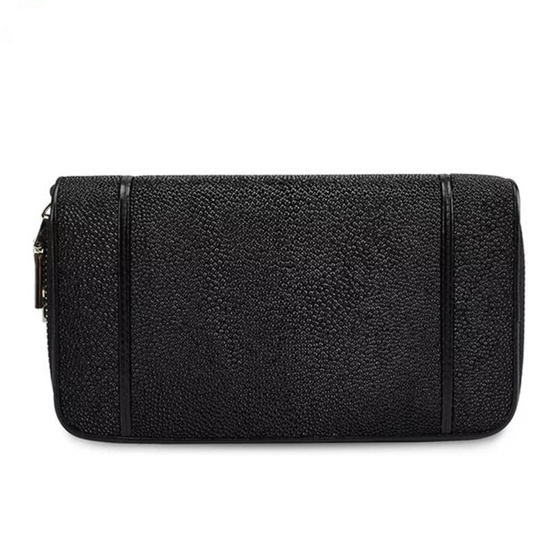 คลาสสิกสีดำสีขาวของแท้หนังปลากระเบนสตรีขนาดใหญ่กระเป๋ากระเป๋าสตางค์หญิงซิป Closure Lady คลัทช์กระเป๋า-ใน กระเป๋าหูหิ้วด้านบน จาก สัมภาระและกระเป๋า บน   3